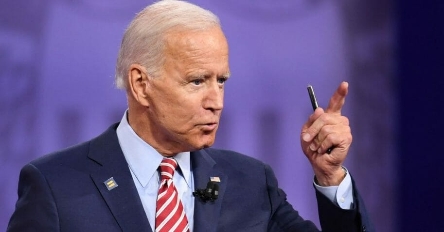Former Vice President Joe Biden appears at Thursday's Democratic primary debate about gay rights.