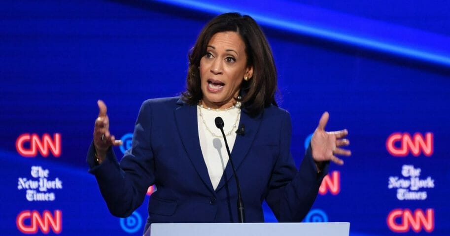California Sen. Kamala Harris gestures during the fourth Democratic primary debate of the 2020 presidential campaign on October 15.