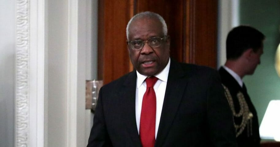 Supreme Court Justice Clarence Thomas arrives for the ceremonial swearing-in of Justice Brett Kavanaugh in the East Room of the White House on Oct. 8, 2018, in Washington, D.C.
