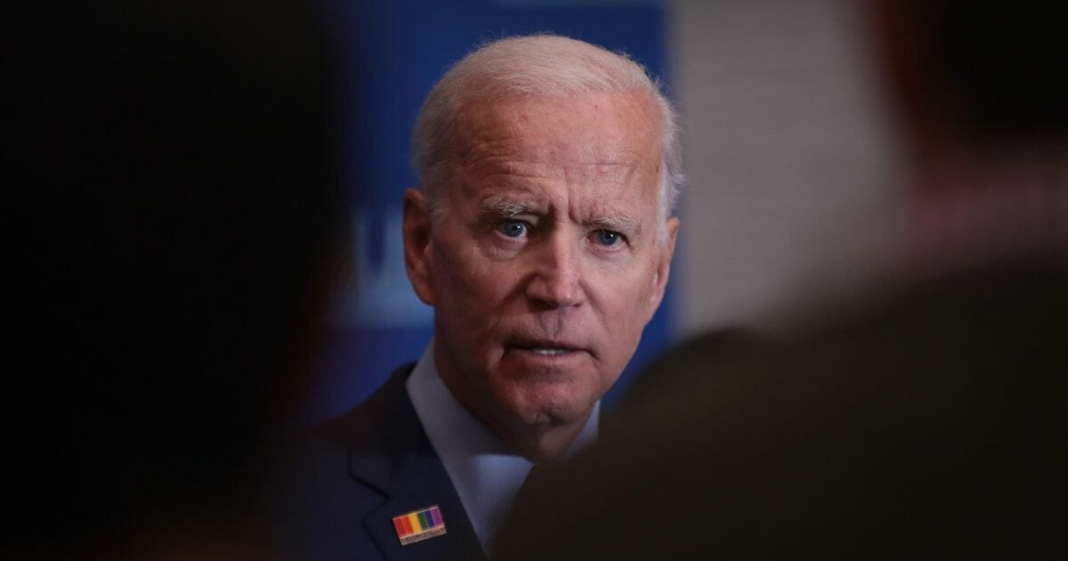Democratic presidential candidate former Vice President Joe Biden speaks to the press after addressing the United Food and Commercial Workers' 2020 presidential candidate forum on Oct. 13, 2019, in Altoona, Iowa.