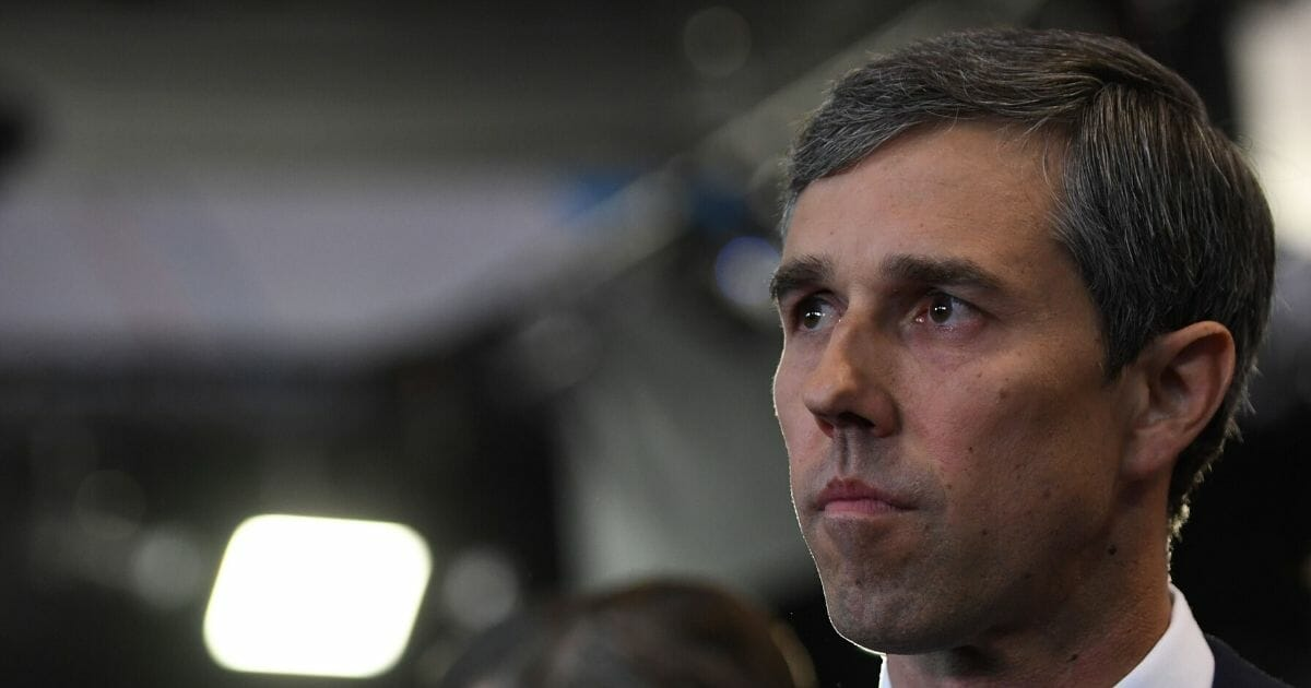 Democratic presidential candidate former Texas representative Beto O'Rourke looks on in the spin room after the fourth Democratic primary debate of the 2020 presidential campaign season co-hosted by The New York Times and CNN at Otterbein University in Westerville, Ohio on Oct. 15, 2019.