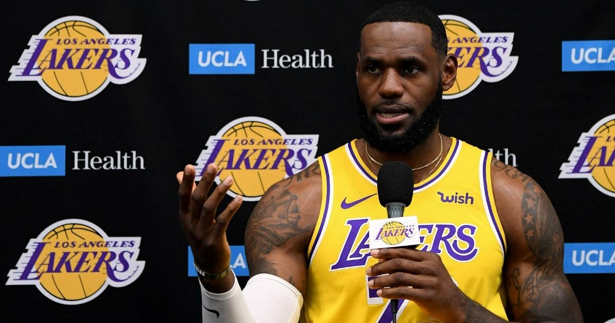 LeBron James of the Los Angeles Lakers speaks to the press during Los Angeles Laker media day at UCLA Health Training Center on Sept. 27, 2019, in El Segundo, California.