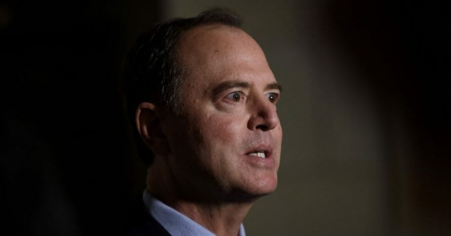 Adam Schiff, Chairman of the House Intelligence Committee, speaks to the media before a closed-door meeting regarding the ongoing impeachment inquiry against President Donald Trump at the U.S. Capitol on Oct. 8, 2019, in Washington, D.C.