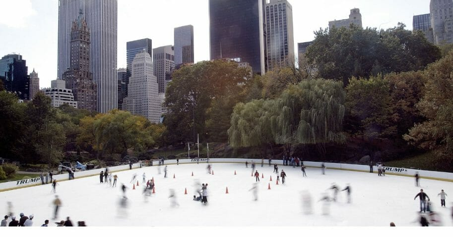 People skate on the Wollman Ice Rink on Oct. 23, 2006, in Central Park in New York City.