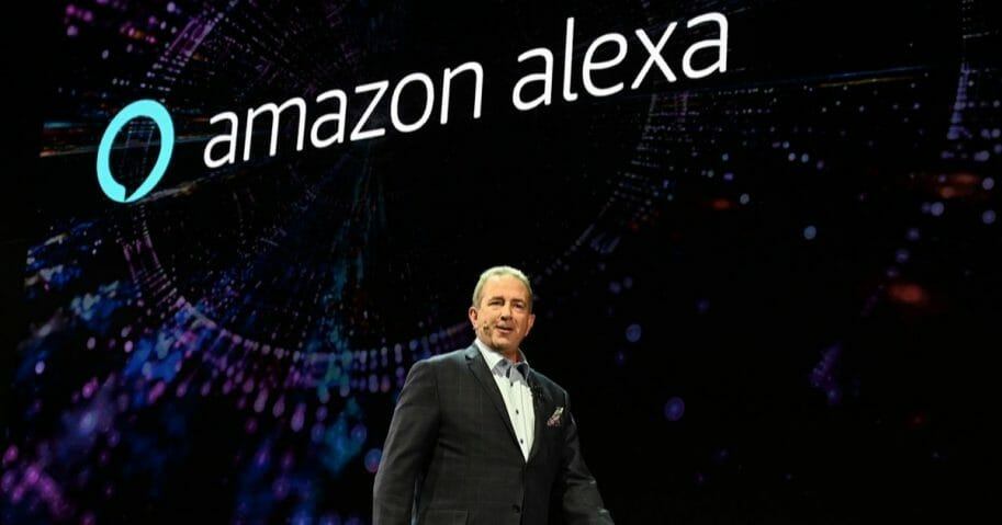 LG Senior Director of Home Entertainment Marketing Tim Alessi speaks about Amazon Alexa at the LG press conference at the Mandalay Bay Convention Center during CES 2019 in Las Vegas Nevada on Jan. 7, 2019.