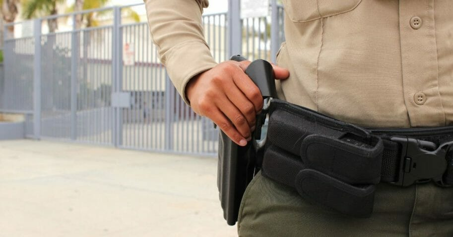 A policeman at a high school in California. On Oct. 15, a freshman brought a gun to La Habra High School but was tackled by several classmates.