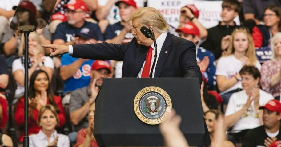 President Donald Trump speaks at a campaign rally at U.S. Bank Arena on Aug. 1, 2019 in Cincinnati, Ohio.