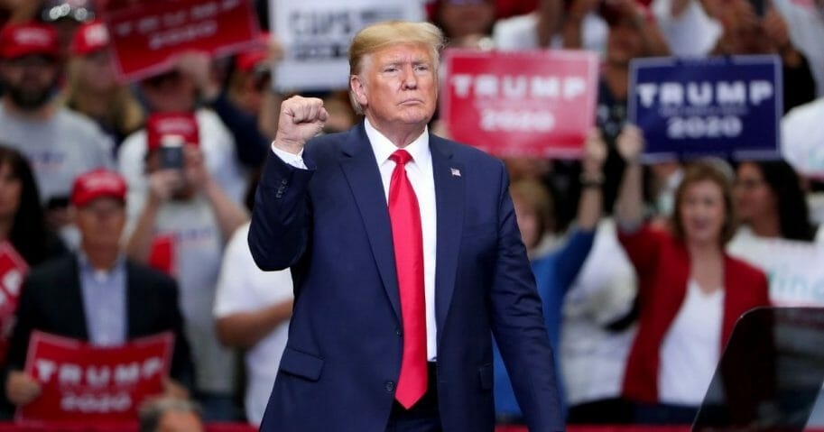 "President Donald Trump speaks during a ""Keep America Great"" Campaign Rally at American Airlines Center on Oct. 17, 2019 in Dallas, Texas."