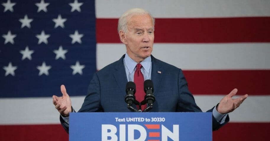 Democratic Presidential candidate former vice president Joe Biden speaks to guests during a campaign stop at the RiverCenter on Oct. 16, 2019 in Davenport, Iowa.
