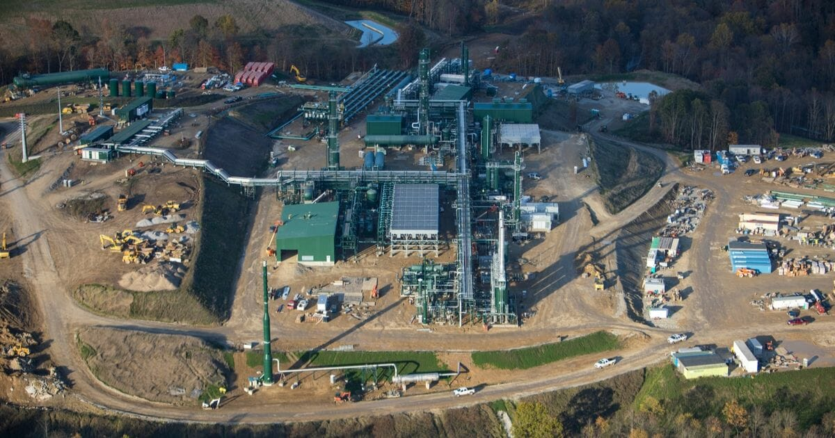 An aerial view shows a natural gas cryogenic processing plant under construction Oct. 26, 2017 in Smith Township, Washington County, Pennsylvania.
