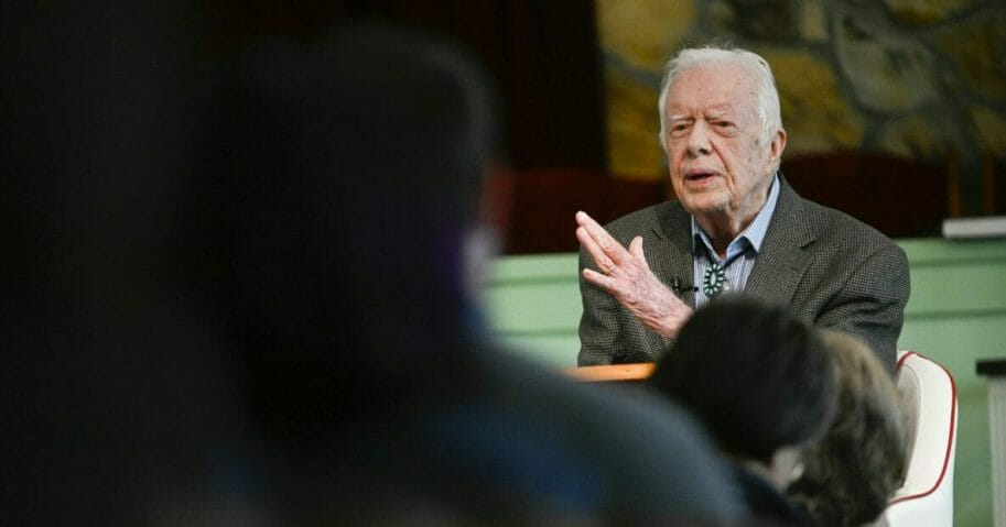 former U.S. President Jimmy Carter speaks