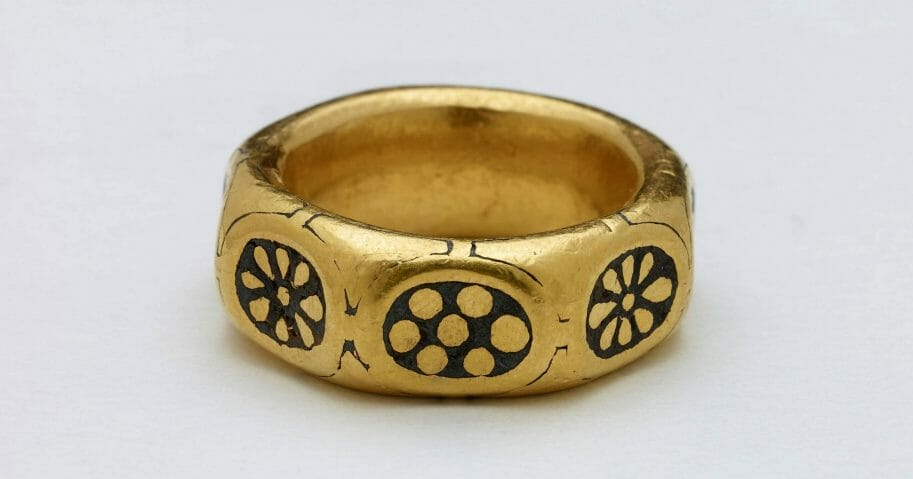 This undated handout photo provided by the British Museum shows a gold ring from the ninth century which was part of a £3 million Viking hoard, metal detectorists George Powell and Layton Davies have been convicted of stealing.