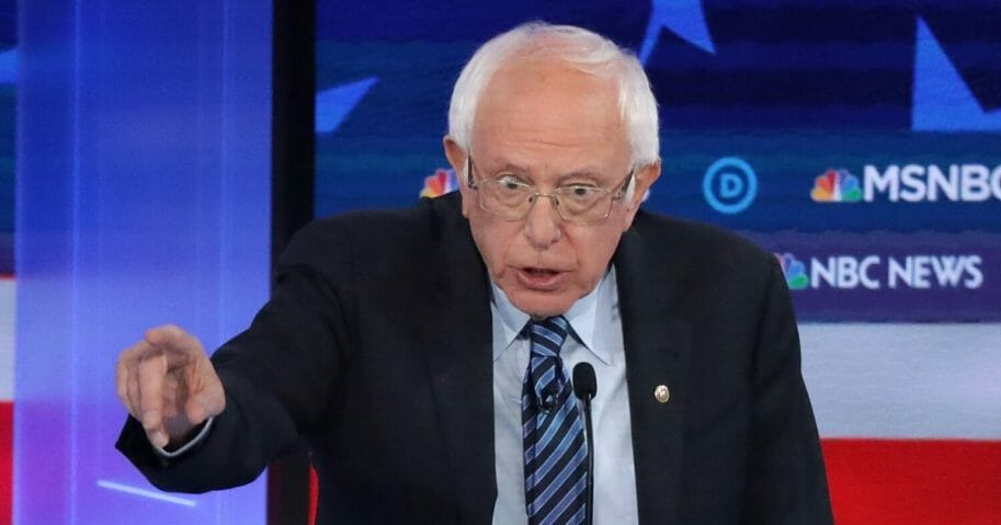 Democratic presidential candidate Sen. Bernie Sanders speaks during the Democratic Presidential Debate at Tyler Perry Studios Nov. 20, 2019, in Atlanta, Georgia.