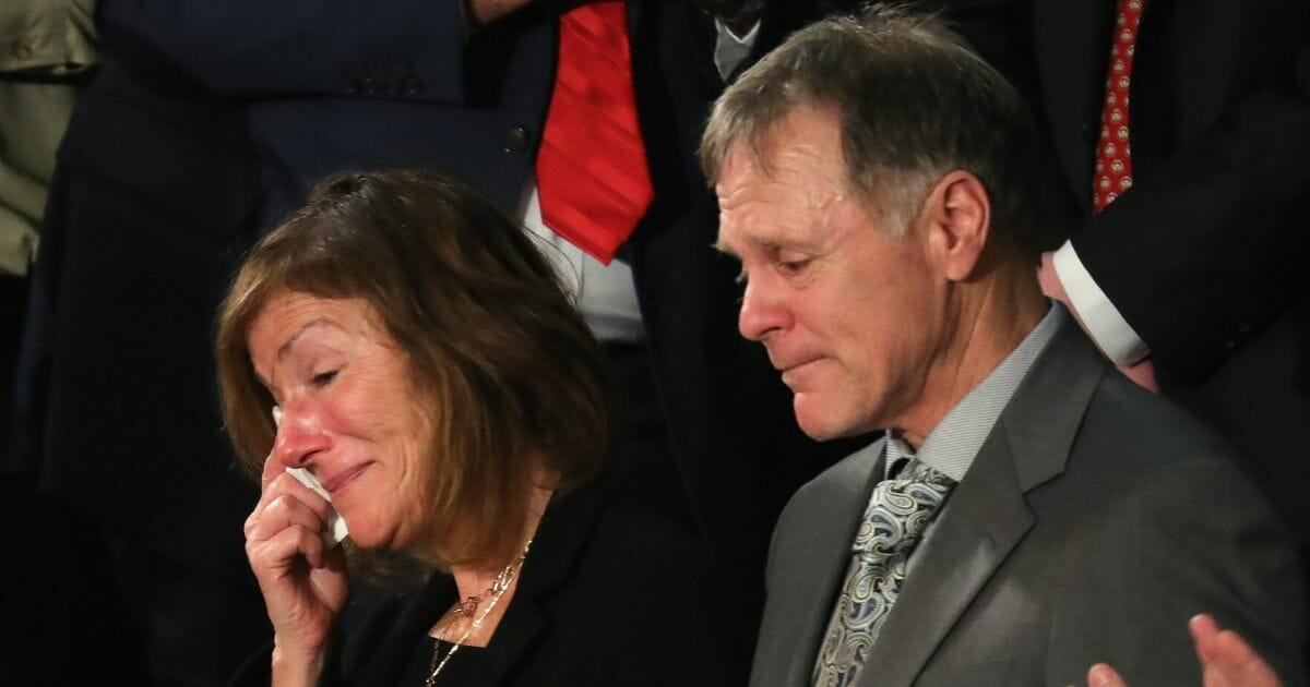 Parents of Otto Warmbier, Fred and Cindy Warmbier are acknowledged during the State of the Union address in the chamber of the U.S. House of Representatives Jan. 30, 2018, in Washington, D.C.