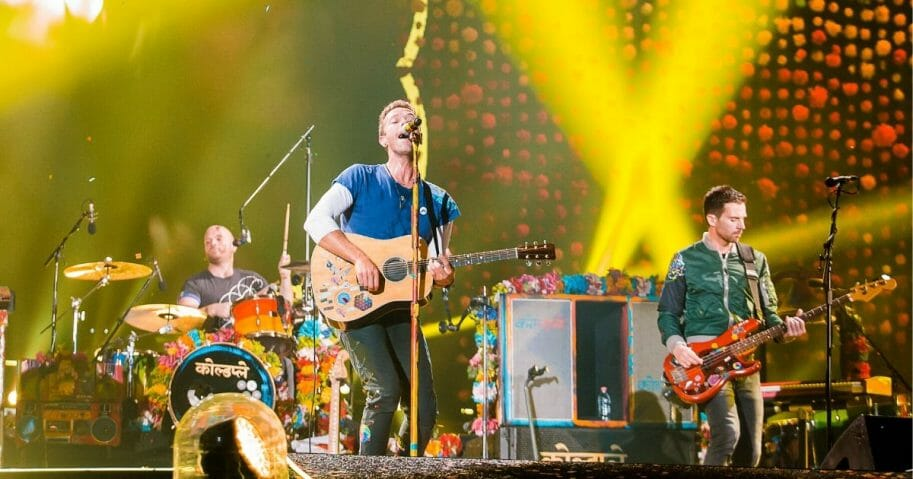Members of the band Coldplay perform live on stage at Allianz Parque on Nov. 7, 2017, in Sao Paulo, Brazil.