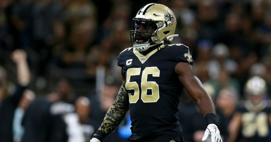 Demario Davis of the New Orleans Saints is in action against the Arizona Cardinals at the Mercedes Benz Superdome.