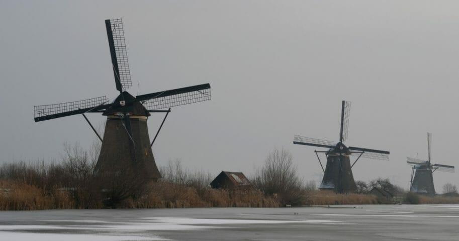 UNESCO World Heritage Kinderdijk windmills stand as snow covers frozen waters in Kinderdijk, near Rotterdam, in the Netherlands on Jan. 24, 2019.