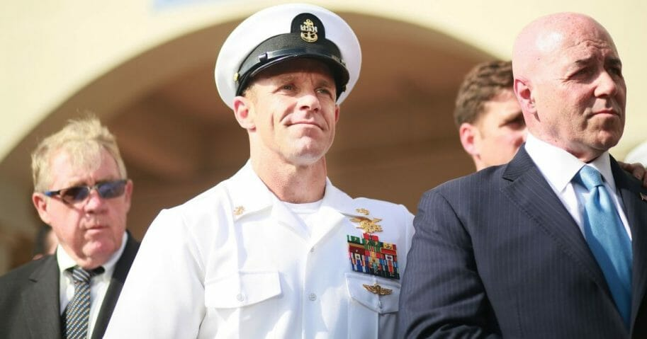 Navy Special Operations Chief Edward Gallagher celebrates after being acquitted of premeditated murder at Naval Base San Diego on July 2, 2019, in San Diego, California.