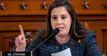 Rep. Elise Stefanik (R-New York) asks questions of witnesses William B. Taylor Jr., top U.S. diplomat in Ukraine, and George P. Kent, deputy assistant secretary for European and Eurasian Affairs, during testimony before the House Intelligence Committee in the Longworth House Office Building on Capitol Hill on Nov. 13, 2019, in Washington, D.C.