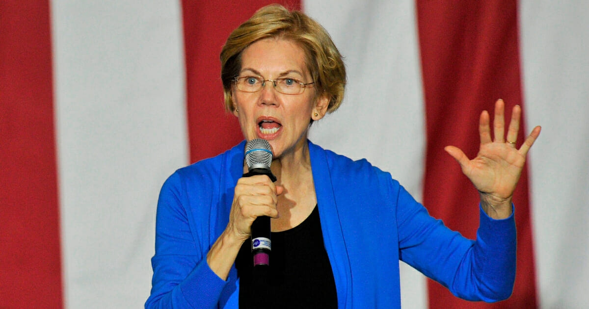 Democratic presidential candidate Sen. Elizabeth Warren of Massachusetts speaks at Exeter High School in New Hampshire during a campaign stop.