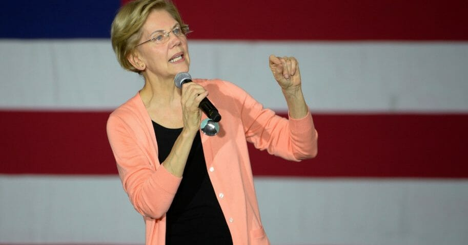 Democratic presidential candidate Sen. Elizabeth Warren of Massachusetts speaks during a campaign stop at Broughton High School in Raleigh, North Carolina.