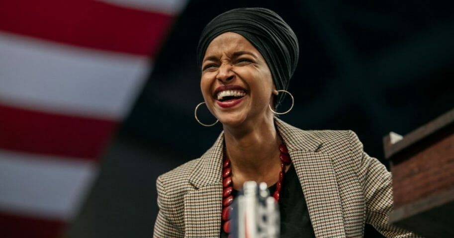 Rep. Ilhan Omar (D-Minnesota) speaks at a campaign rally for Senator (I-Vermont) and presidential candidate Bernie Sanders at the University of Minnesotas Williams Arena on Nov. 3, 2019, in Minneapolis, Minnesota.