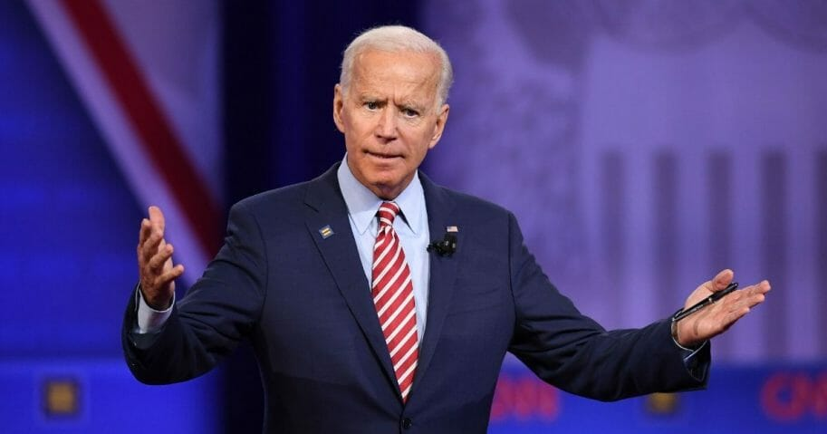 Democratic presidential hopeful former U.S. Vice President Joe Biden gestures as he speaks during a town hall devoted to LGBTQ issues hosted by CNN and the Human rights Campaign Foundation at The Novo in Los Angeles on Oct. 10, 2019.