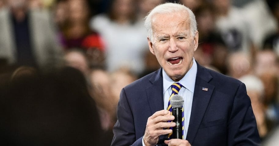 Democratic presidential candidate and former vice President Joe Biden speaks to the audience during a town hall in Greenwood, South Carolina, on on Nov. 21, 2019.