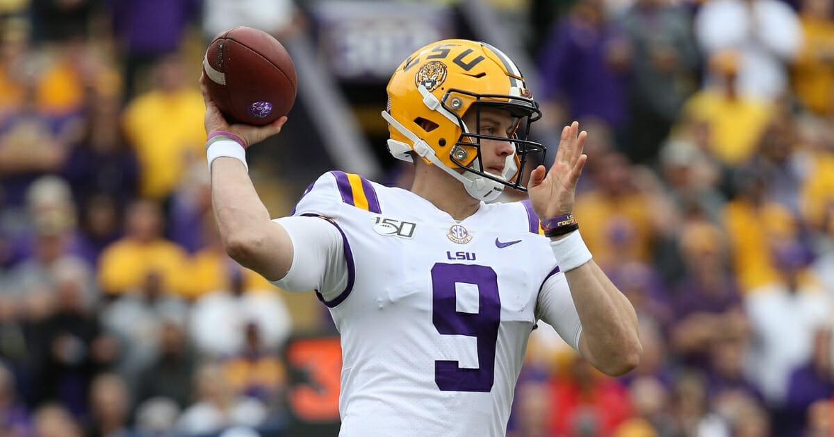 Quarterback Joe Burrow #9 of the LSU Tigers in action against the Auburn Tigers at Tiger Stadium on Oct. 26, 2019, in Baton Rouge, Louisiana.