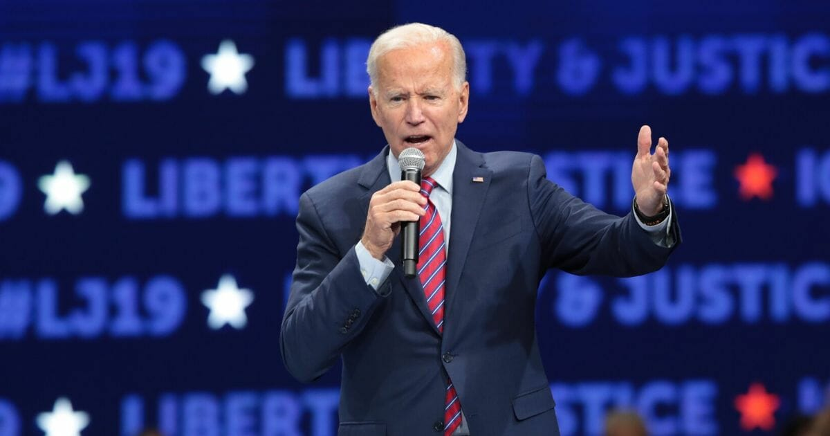 Democratic presidential candidate and former Vice President Joe Biden speaks at the Liberty and Justice Celebration at the Wells Fargo Arena on Nov. 1, 2019, in Des Moines, Iowa.