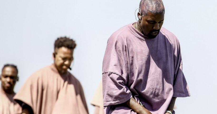 Kanye West performs Sunday Service during the 2019 Coachella Valley Music And Arts Festival on April 21, 2019, in Indio, California.
