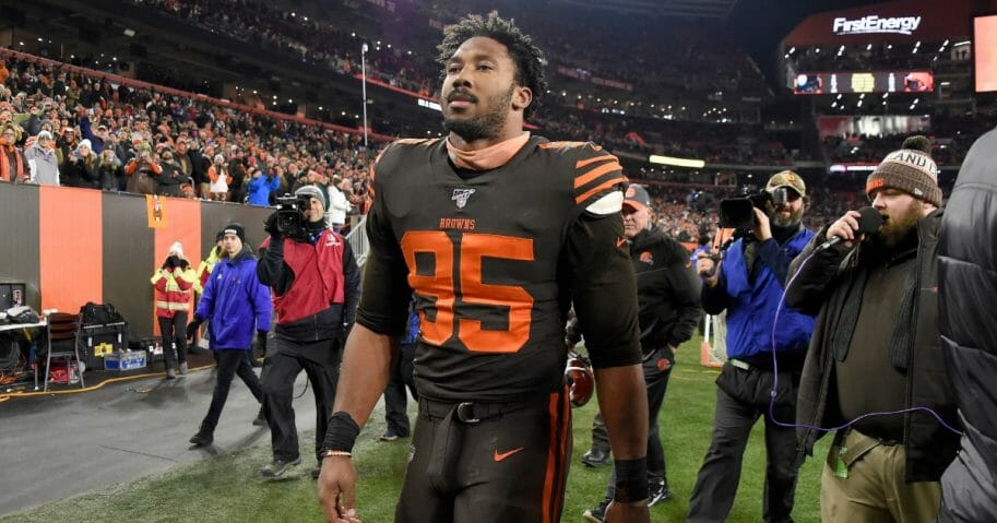 Cleveland Browns defensive end Myles Garrett walks off the field after being ejected from a game against the Pittsburgh Steelers on Nov. 14, 2019, at FirstEnergy Stadium.