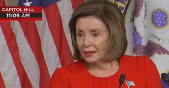 House Speaker Nancy Pelosi responds to a question during a news conferecne Thursday.