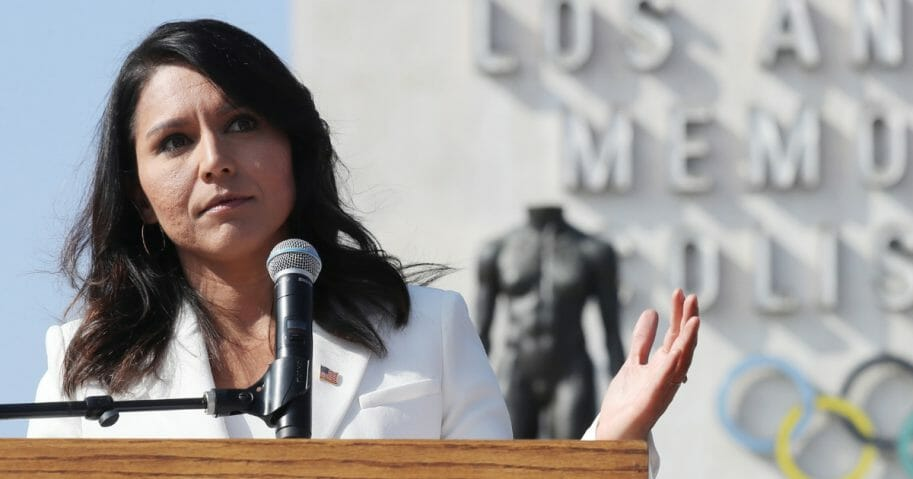 Democratic presidential candidate Rep. Tulsi Gabbard (D-Hawaii) speaks during the inaugural Veterans Day L.A. event held outside of the Los Angeles Memorial Coliseum on Nov. 11, 2019, in Los Angeles, California.