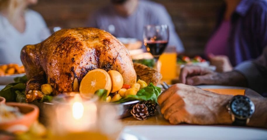 A stock image of a Thanksgiving feast.