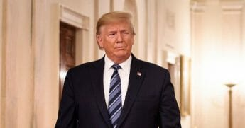 President Donald Trump is pictured at the White House last week just before a Presidential Citizens Medal ceremony.