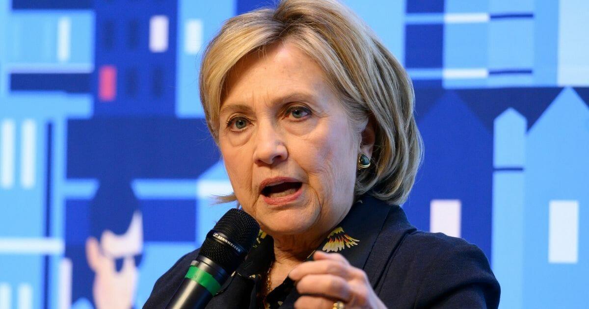 Former Democratic presidential candidate Hillary Clinton speaks during a visit to Swansea University last week in Swansea, Wales.