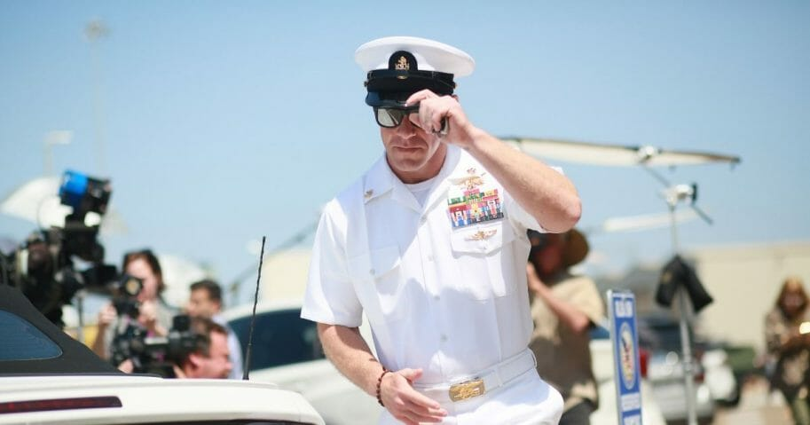 Navy SEAL Chief Petty Officer Eddie Gallagher is pictured leaving his court-martial during a break on July 2 in San Diego.