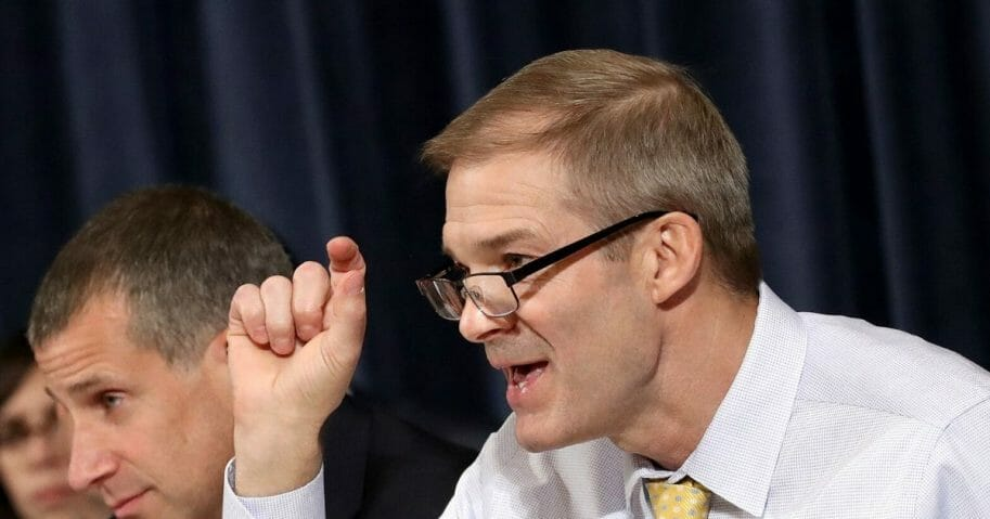 Ohio Rep. Jim Jordan questions top U.S. diplomat to Ukraine William B. Taylor Jr. before the House Intelligence Committee on Capitol Hill on Nov. 13, 2019, in Washington, D.C.