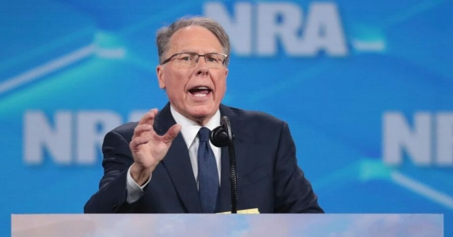 National Rifle Association chief executive Wayne LaPierre speaks at the NRA-ILA Leadership Forum on April 26, 2019, in Indianapolis.