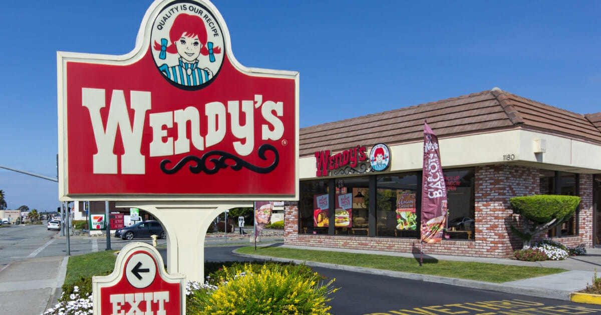 Wendy's fast food restaurant exterior and sign