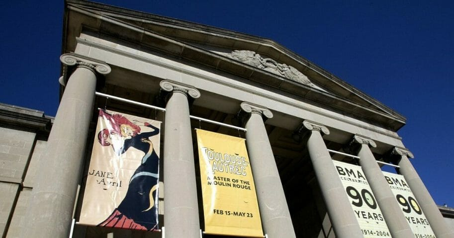 Banners hang outside the Baltimore Museum of Art.
