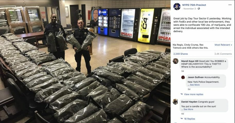 In this undated photo taken from the New York Police Department Facebook page, officers stand by what the NYPD thought was marijuana when they confiscated it in the Brooklyn borough of New York. The Vermont farm that grew the plants and the Brooklyn CBD shop that ordered them insist they're not pot, but legal industrial hemp.