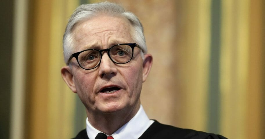 In this Jan. 13, 2016 file photo, Iowa Supreme Court Chief Justice Mark Cady delivers his Condition of the Judiciary address to a joint session of the Iowa Legislature in Des Moines, Iowa. Cady's family says in a statement posted on the court's website that he died unexpectedly of a heart attack on Nov. 15, 2019. He was 66.