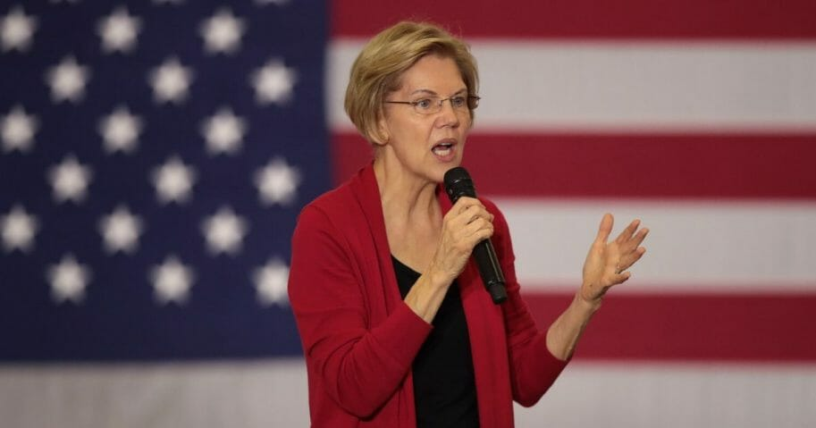 Democratic presidential candidate Sen. Elizabeth Warren speaks to guests during a campaign stop at Hempstead High School on Nov. 2, 2019 in Dubuque, Iowa.