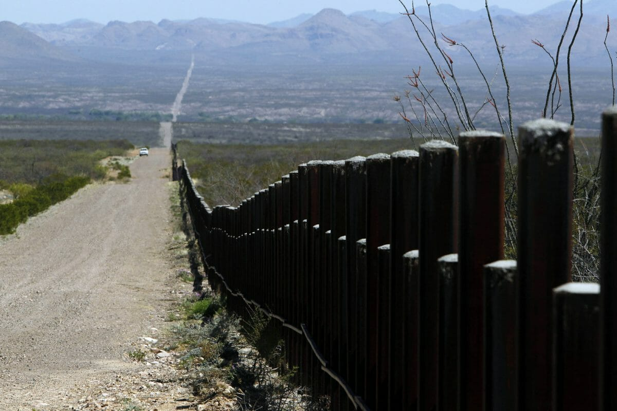 A U.S. Customs and Border Patrol truck patrols the U.S. border with Mexico in Douglas, Arizona.