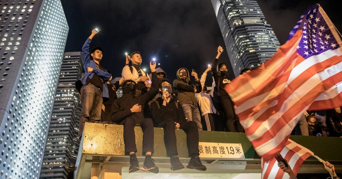 Pro-democracy protesters take part in a Thanksgiving Day rally at Edinburgh Place on Nov. 28, 2019 in Hong Kong, China.