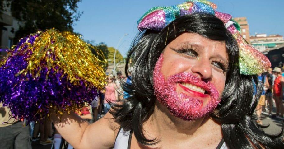 Man in gay pride parade.