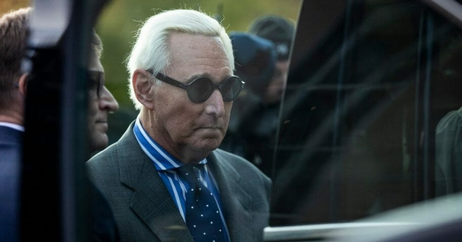 Roger Stone, former advisor to President Donald Trump, gets into a vehicle as he leaves the E. Barrett Prettyman United States Courthouse after he testified at his trial Nov. 8, 2019 in Washington, D.C.