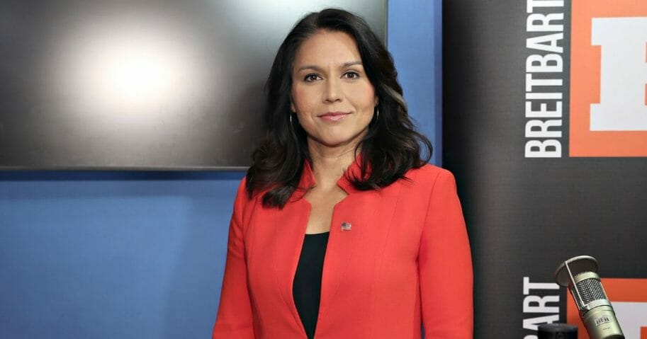 "Rep. Tulsi Gabbard talks with SiriusXM's ""Breitbart News Daily"" at SiriusXM Studios on November 7, 2019 in New York City."